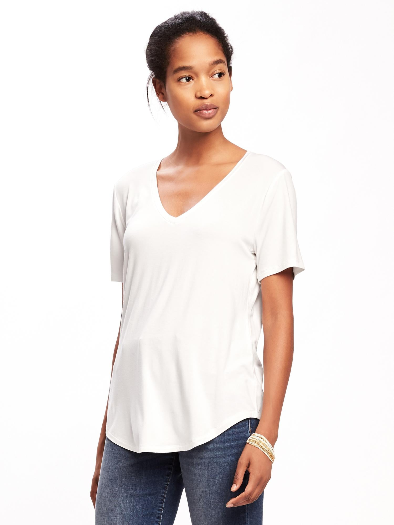 1f46d42aa9 Luxe Curved-Hem V-Neck Tee for Women | Old Navy