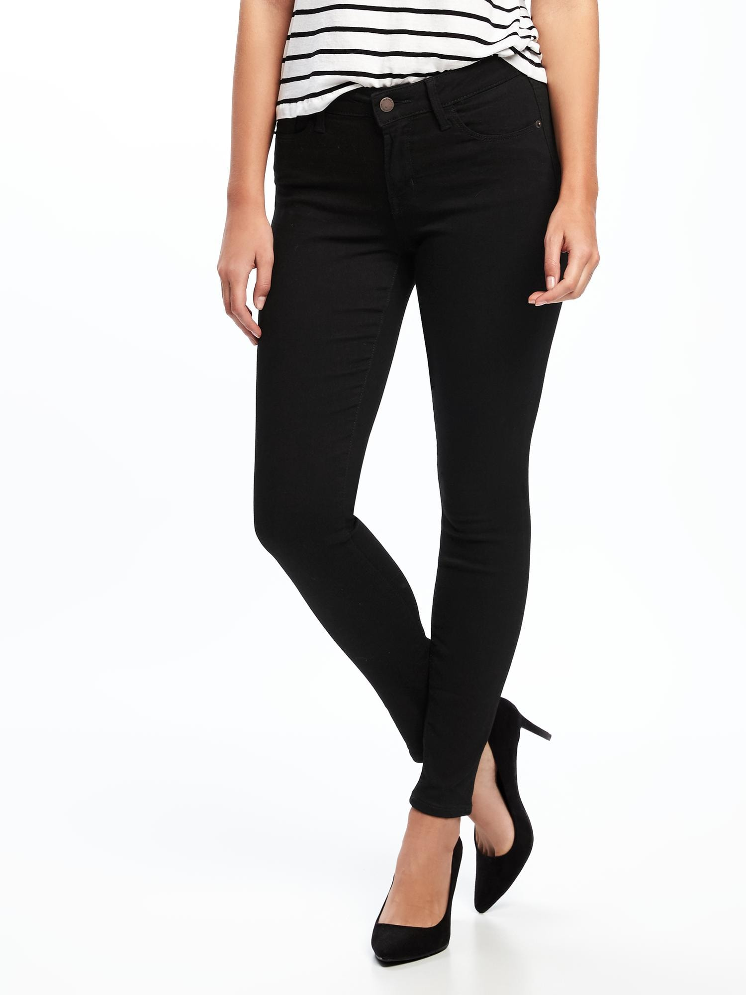 76aa2667252 Mid-Rise Black Rockstar Super Skinny Jeans for Women