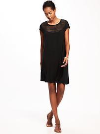 Lace-Yoke Swing Dress for Women