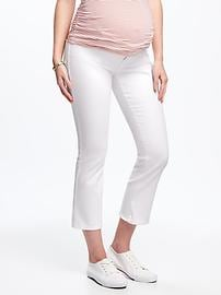 Maternity Clean-Slate Side-Panel Cropped Kick-Flare Jeans