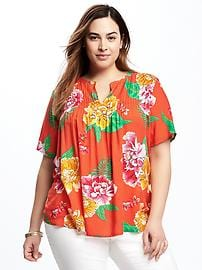Lightweight Plus-Size Pintuck Swing Blouse