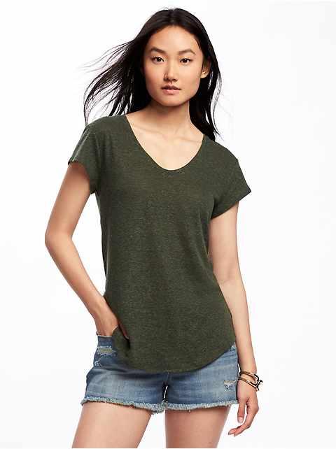T-shirt décontracté en mélange de lin à ourlet arrondi pour femme