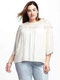 Plus-Size Bell-Sleeve Swing Top