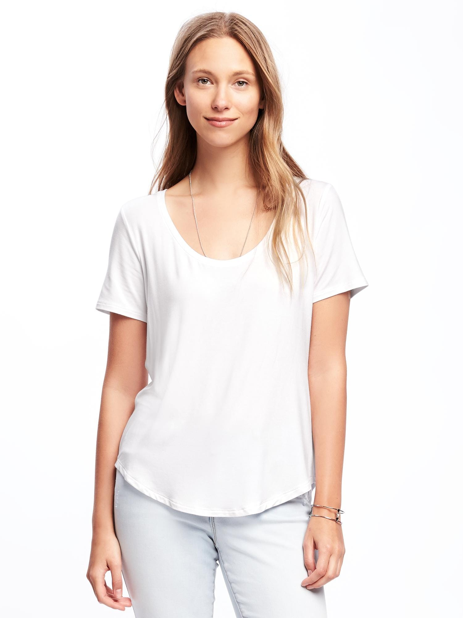 ba99d90aebdaf0 Luxe Curved-Hem Tee for Women
