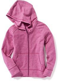 Chandail à capuchon en molleton tricot grège pour fille