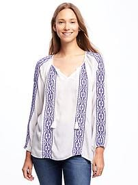 Embroidered Boho Swing Top for Women