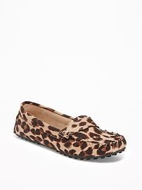Sueded Leopard-Print Driving Moccasins for Women