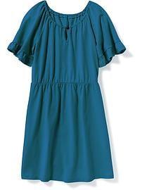 Robe à taille cintrée et à manches flottantes pour fille