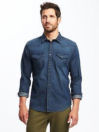 Chemise western en cambrai pour homme, coupe standard