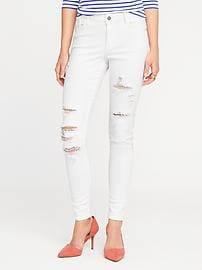 Mid-Rise Distressed Rockstar White Jeans for Women
