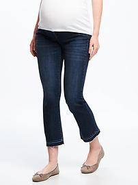 Maternity Side-Panel Cropped Kick-Flare Jeans