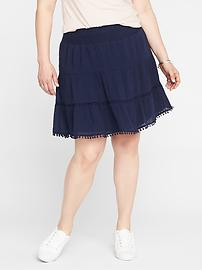 Smocked Tiered Plus-Size Flirty Skirt
