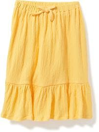 Crinkle-Jersey Tea-Length Skirt for Toddler