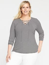 Fitted Plus-Size Lace-Up Top