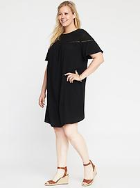 Plus-Size Lace-Yoke Shift Dress