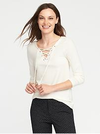 Semi-Fitted Lace-Up Top for Women