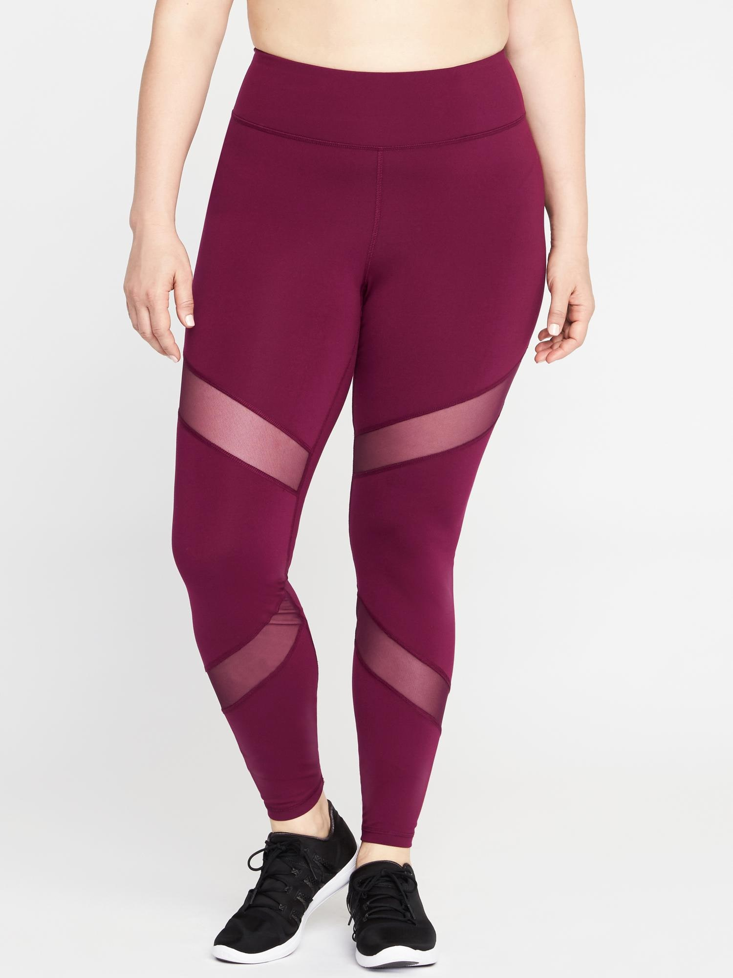 cb661ac188352a High-Rise Elevate Mesh-Panel Compression Plus-Size Leggings | Old Navy