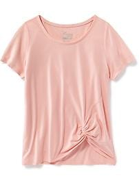 Relaxed Side-Knot Performance Tee for Girls