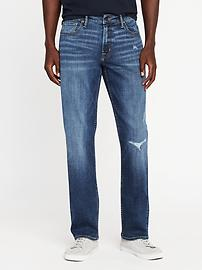 Straight Built-In Flex Max Distressed Jeans for Men