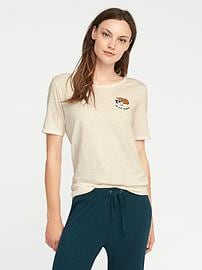 Relaxed Graphic Slub-Knit Tee for Women