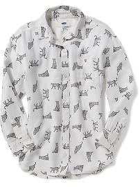 Patterned Boyfriend Tunic Shirt for Girls