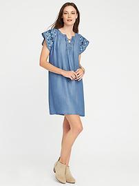 Lace-Up Tencel&#153 Shift Dress for Women