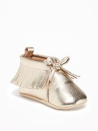 Metallic-Gold Moccasins for Baby