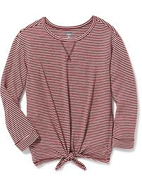Brushed-Knit Tie-Front Sweater for Girls