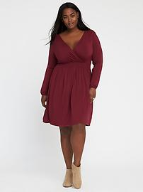 Plus-Size Wrap-Front Smocked-Waist Dress