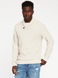 Textured Shawl-Collar Sweater for Men