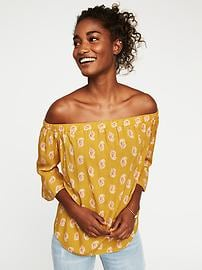 Printed Off-the-Shoulder Swing Top for Women