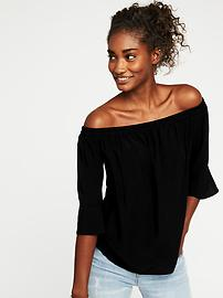 Smocked Off-the-Shoulder Swing Top for Women