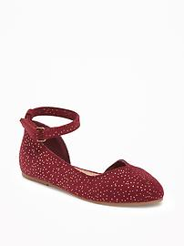 Sueded Pointy-Toe Ballet Flats for Toddler Girls