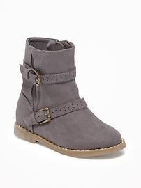 Sueded Buckled Boots for Toddler Girls