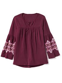 Embroidered-Sleeve Crinkle-Gauze Top for Girls