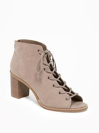 Sueded Lace-Up Peep-Toe Booties for Women