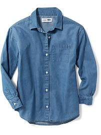 Chambray Boyfriend Shirt for Girls