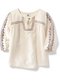 Embroidered Dobby Swing Top for Girls
