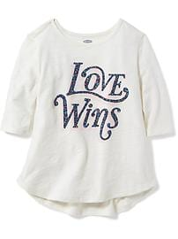 Slub-Knit Graphic Top for Toddler Girls