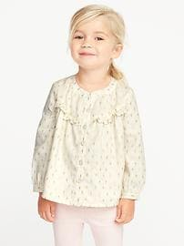 Ruffle-Trim Sparkle Top for Toddler Girls