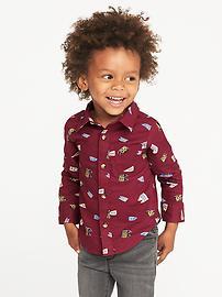 Chemise de popeline en fil flammé pour tout-petit garçon