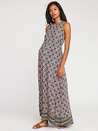 Maternity Sleeveless High-Neck Maxi Dress