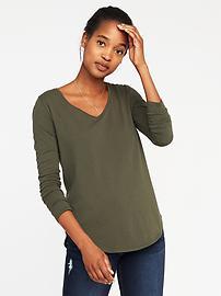 T-shirt col en V tout-aller à ourlet arrondi pour femme
