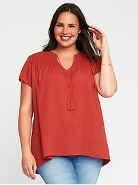 Relaxed Tassel-Tie Plus-Size Cocoon Blouse