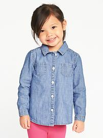 Chambray Denim Shirt for Toddler Girls