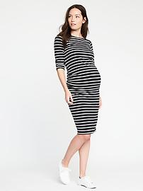 Maternity Bodycon Boat-Neck Dress