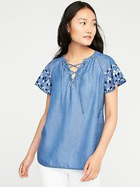 Relaxed Lace-Up Neck Chambray Top for Women