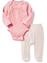 2-Piece Graphic Bodysuit and Patterned Leggings Set for Baby
