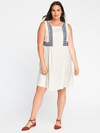 Plus-Size Embroidered Swing Dress