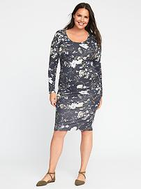 Floral Side-Ruched Plus-Size Bodycon Dress